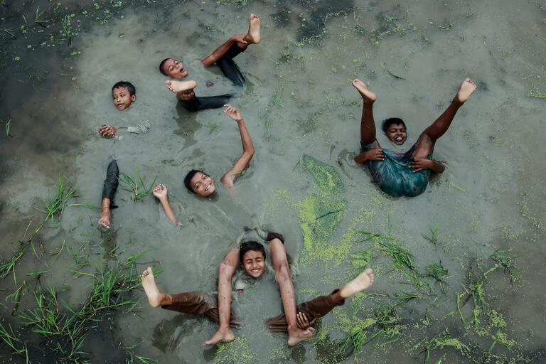 Muhammad Amdad Hossain with 'Joy of Childhood'